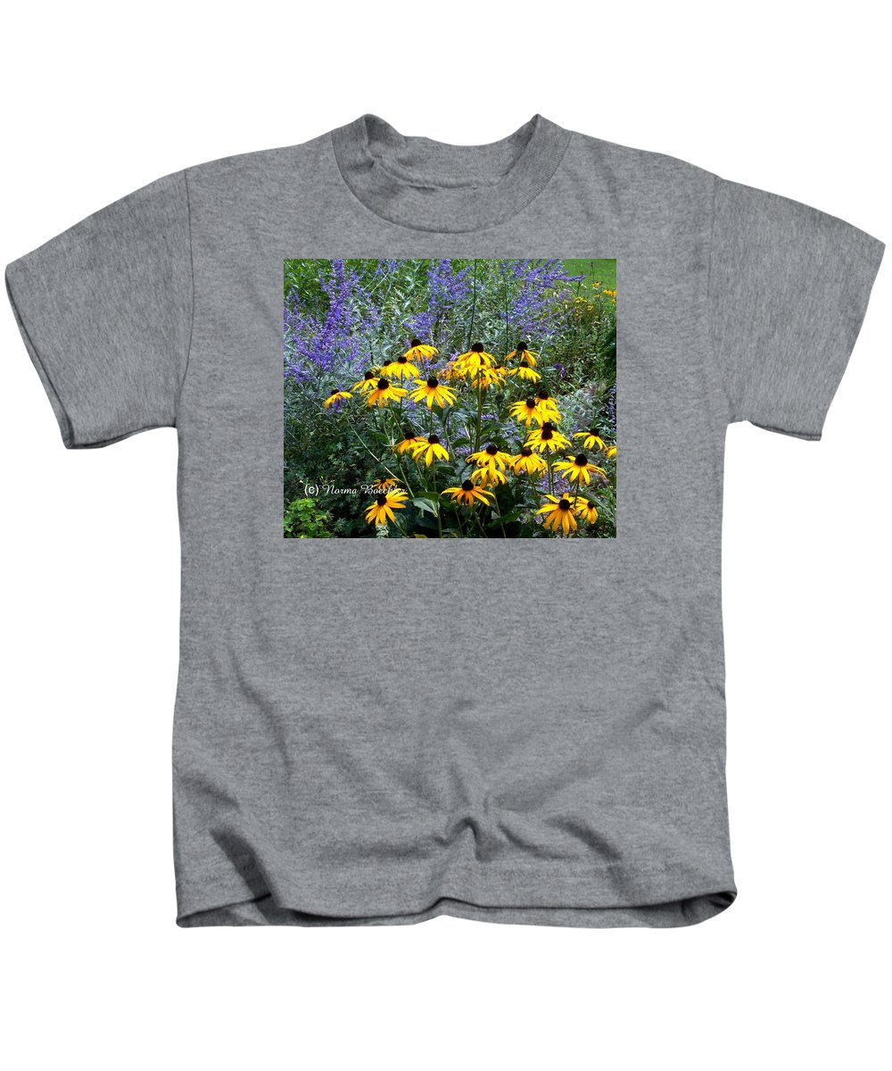 Photography Kids T-Shirt featuring the photograph Yellow Daisies And Purple Sage by Norma Boeckler