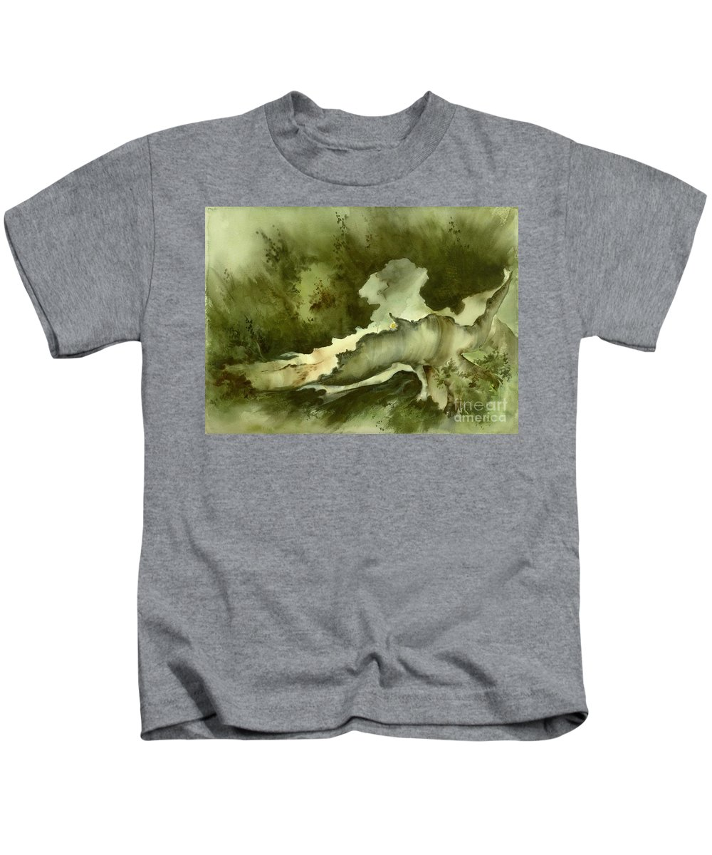 Kids T-Shirt featuring the painting Yellow Flower by Ellen Palmer Legacy Art