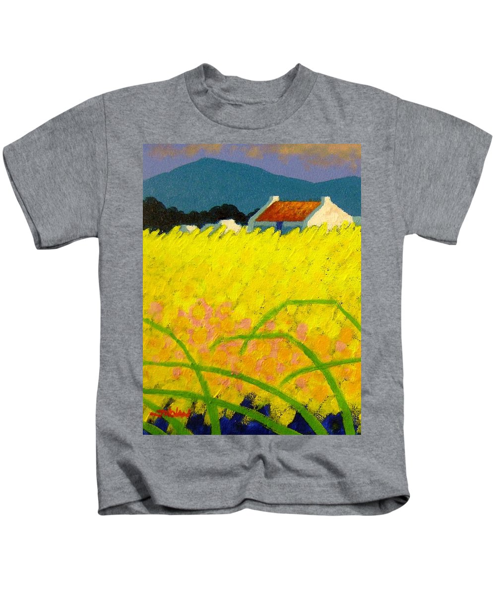 Irish Landscape Kids T-Shirt featuring the painting yellow Meadow Ireland by John Nolan