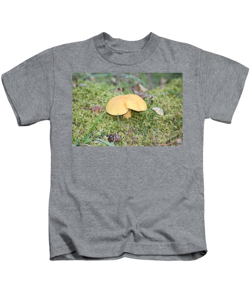 Mushrooms Nature Plants Wild Moss Acorns Forest Kids T-Shirt featuring the photograph Yellow Mushroom by Andrea Lawrence