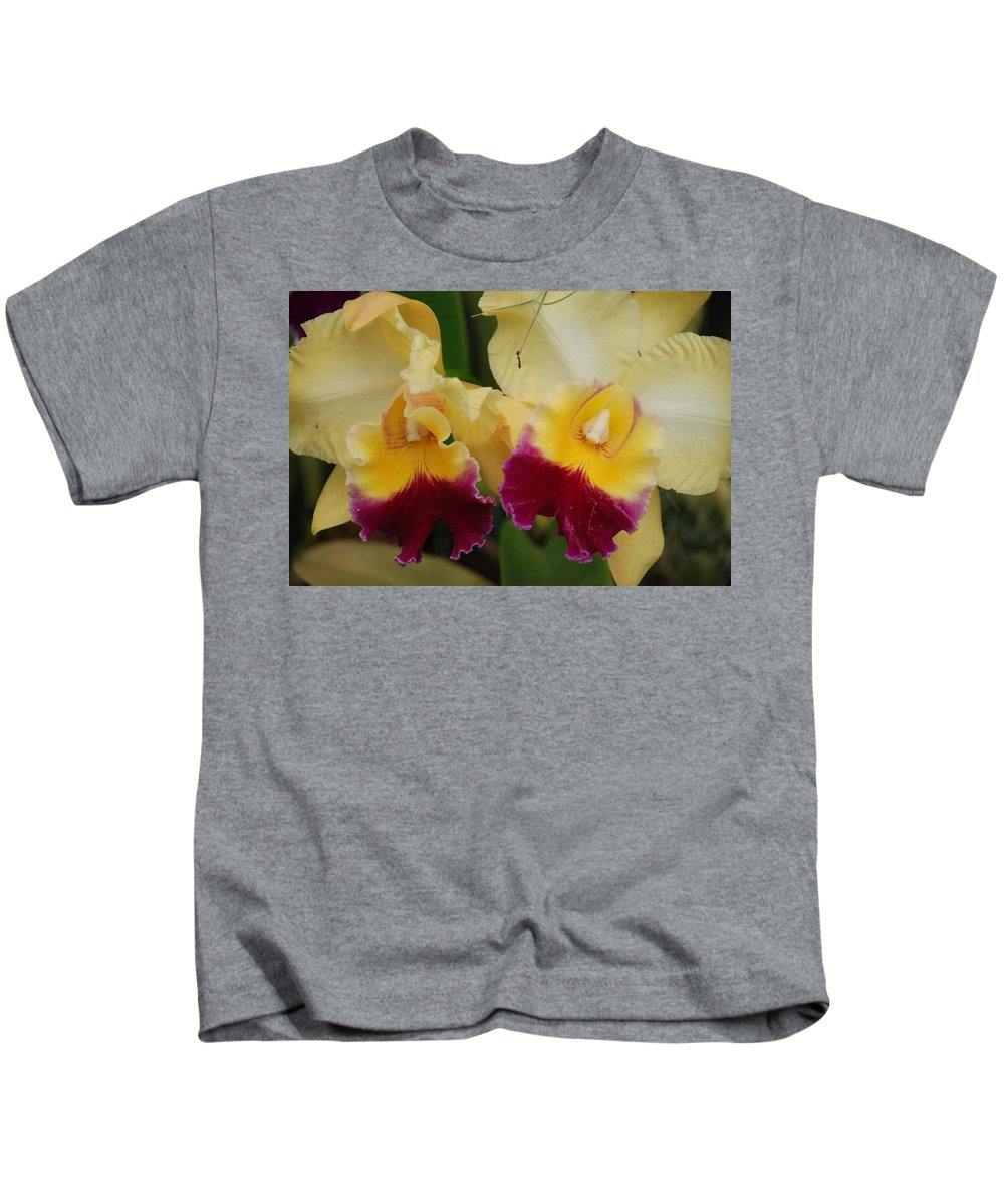 Macro Kids T-Shirt featuring the photograph Yellow Purple Orchids by Rob Hans
