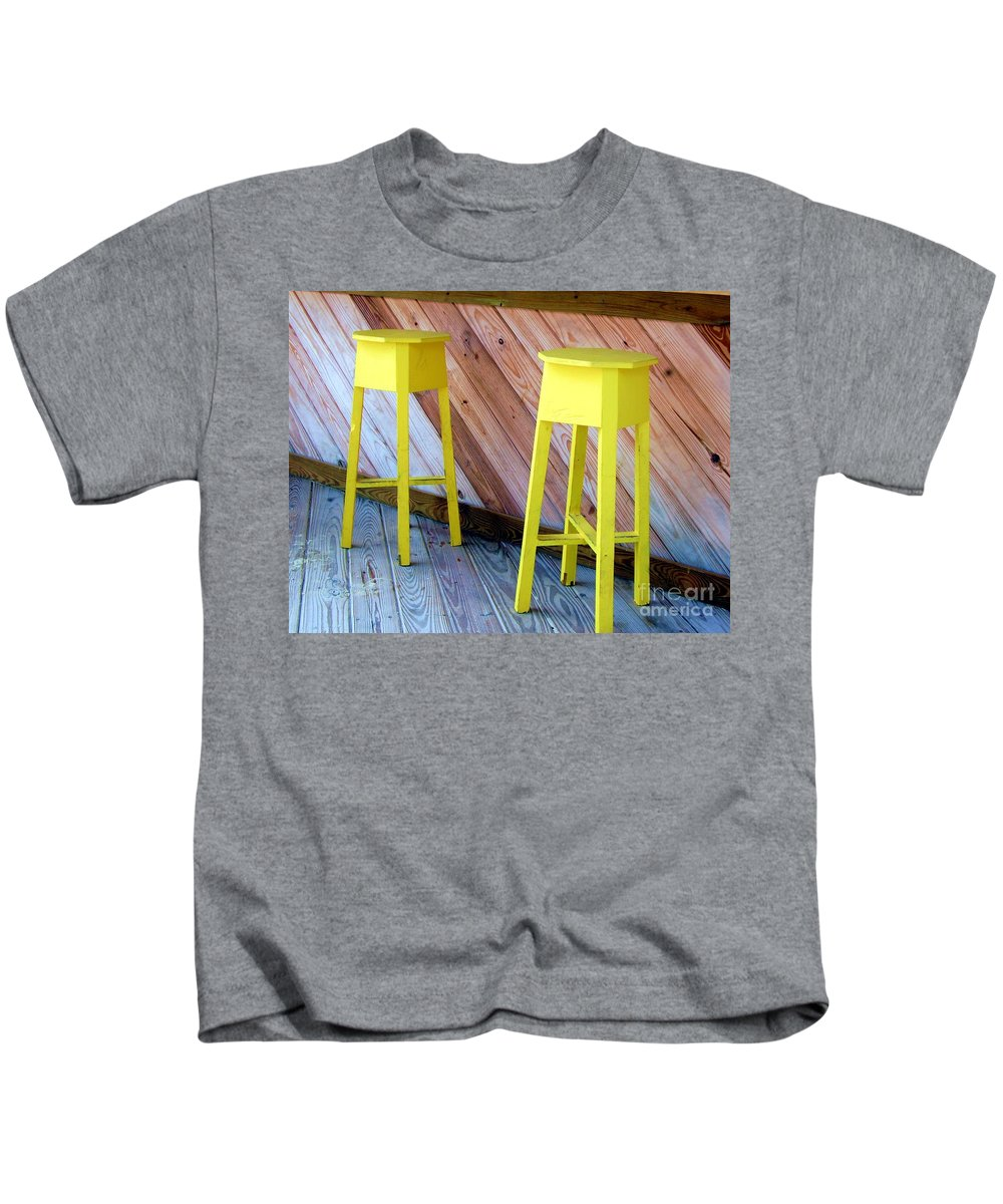 Yellow Kids T-Shirt featuring the photograph Yellow Stools by Debbi Granruth