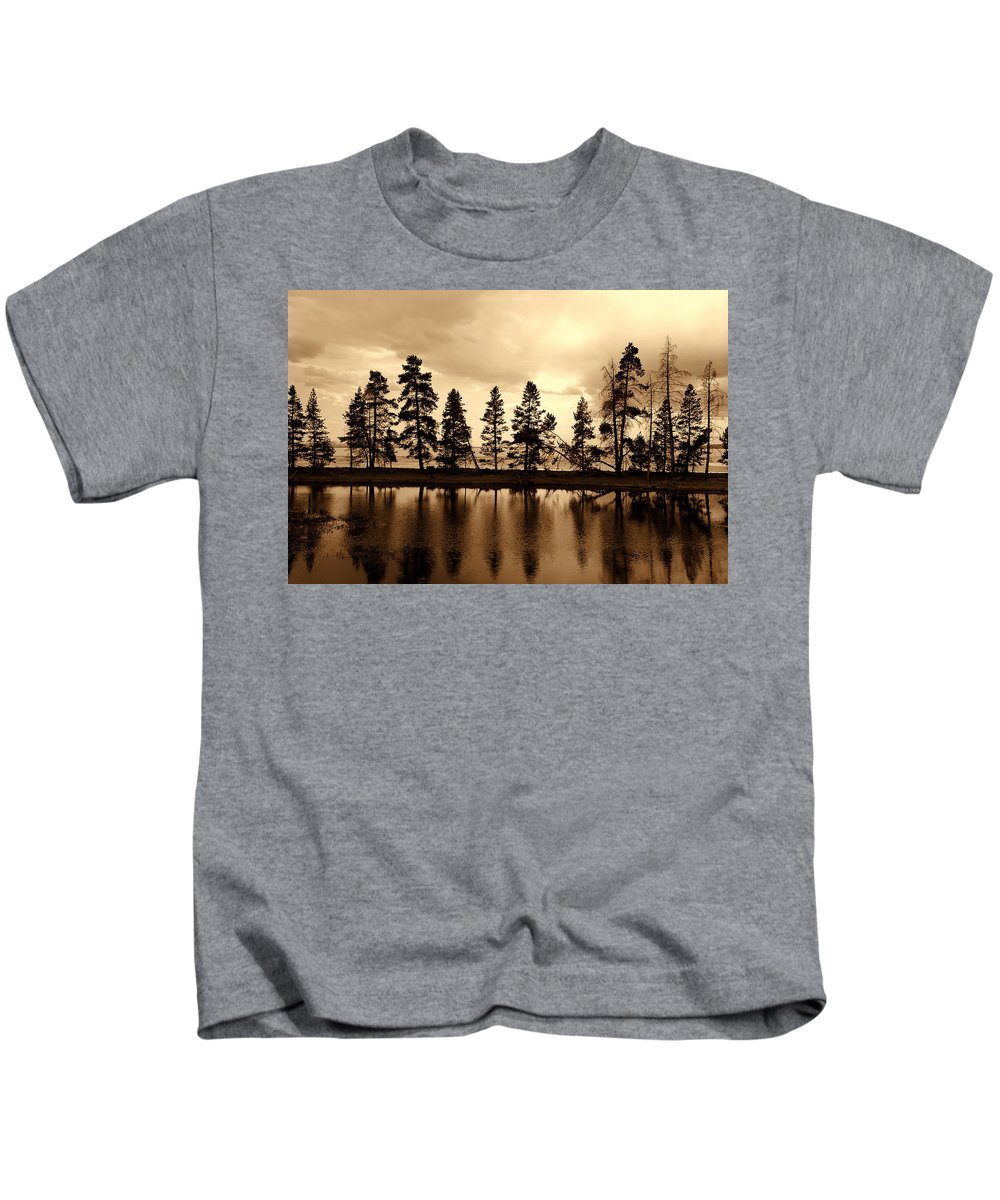 Photography Kids T-Shirt featuring the photograph Yellowstone Lake by Susanne Van Hulst