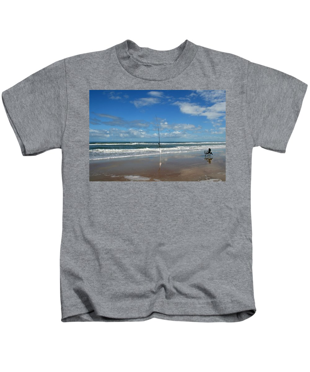 Fish Fishing Vacation Beach Surf Shore Rod Pole Chair Blue Sky Ocean Waves Wave Sun Sunny Bright Kids T-Shirt featuring the photograph You Could Have Been There by Andrei Shliakhau