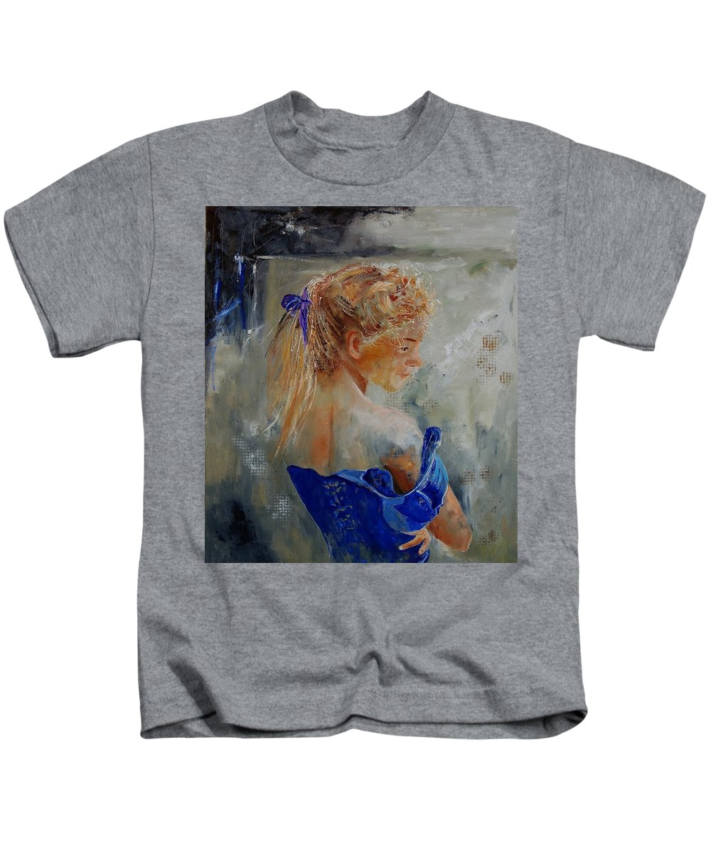 Gir Kids T-Shirt featuring the painting Young Girl 78 by Pol Ledent