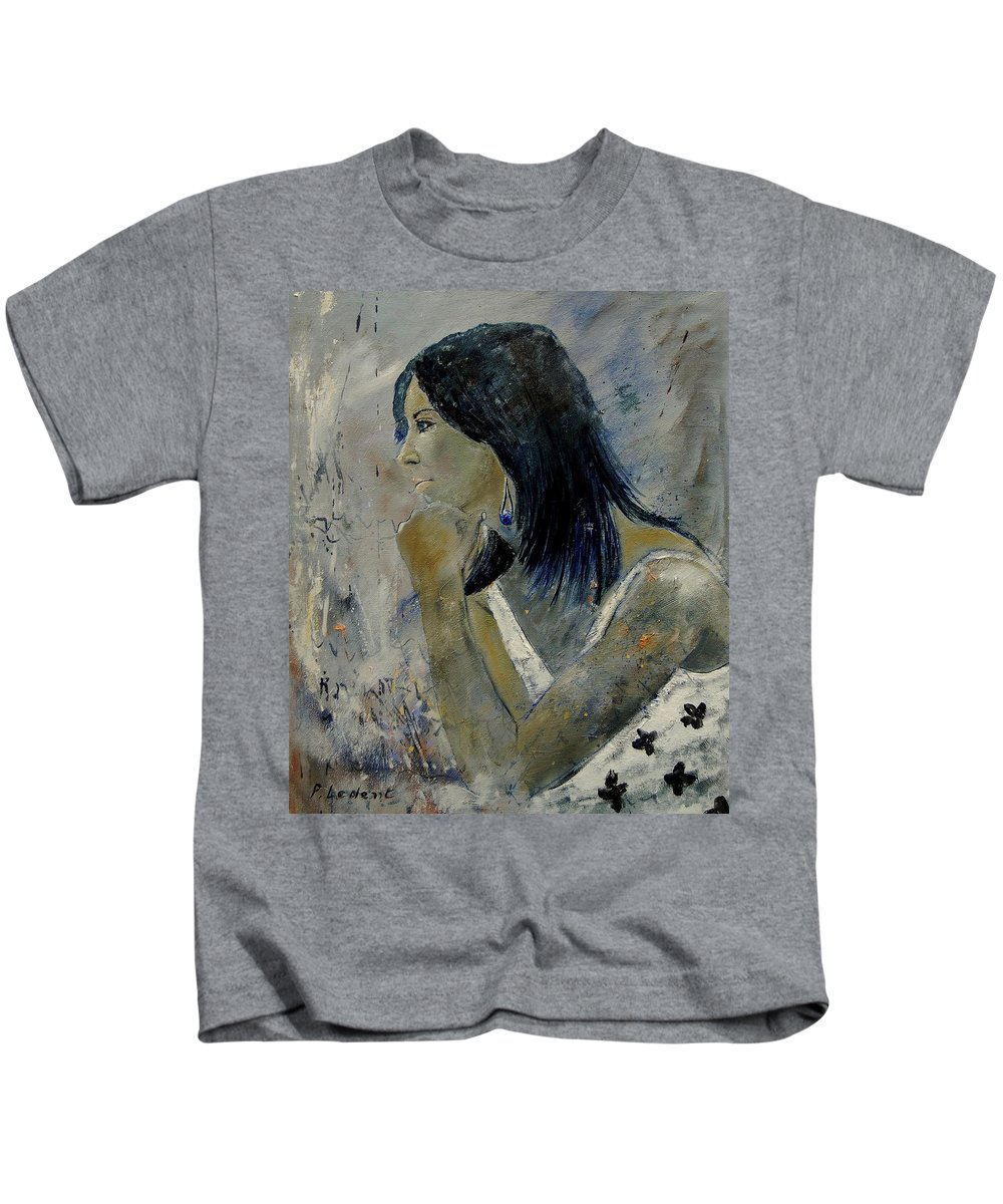Girl Kids T-Shirt featuring the painting Young Girl Eg569090 by Pol Ledent
