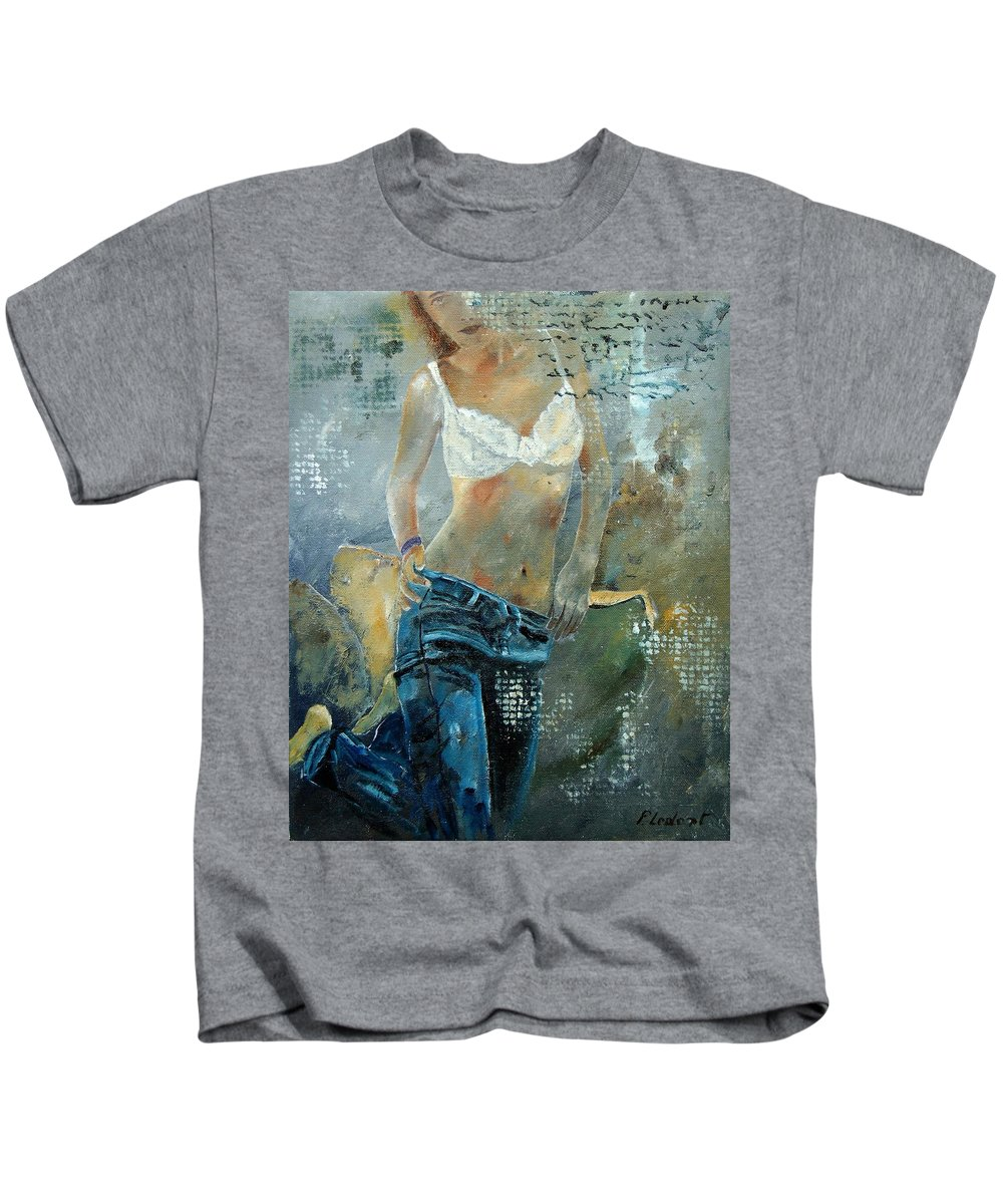 Girl Kids T-Shirt featuring the painting Young Girl In Jeans by Pol Ledent