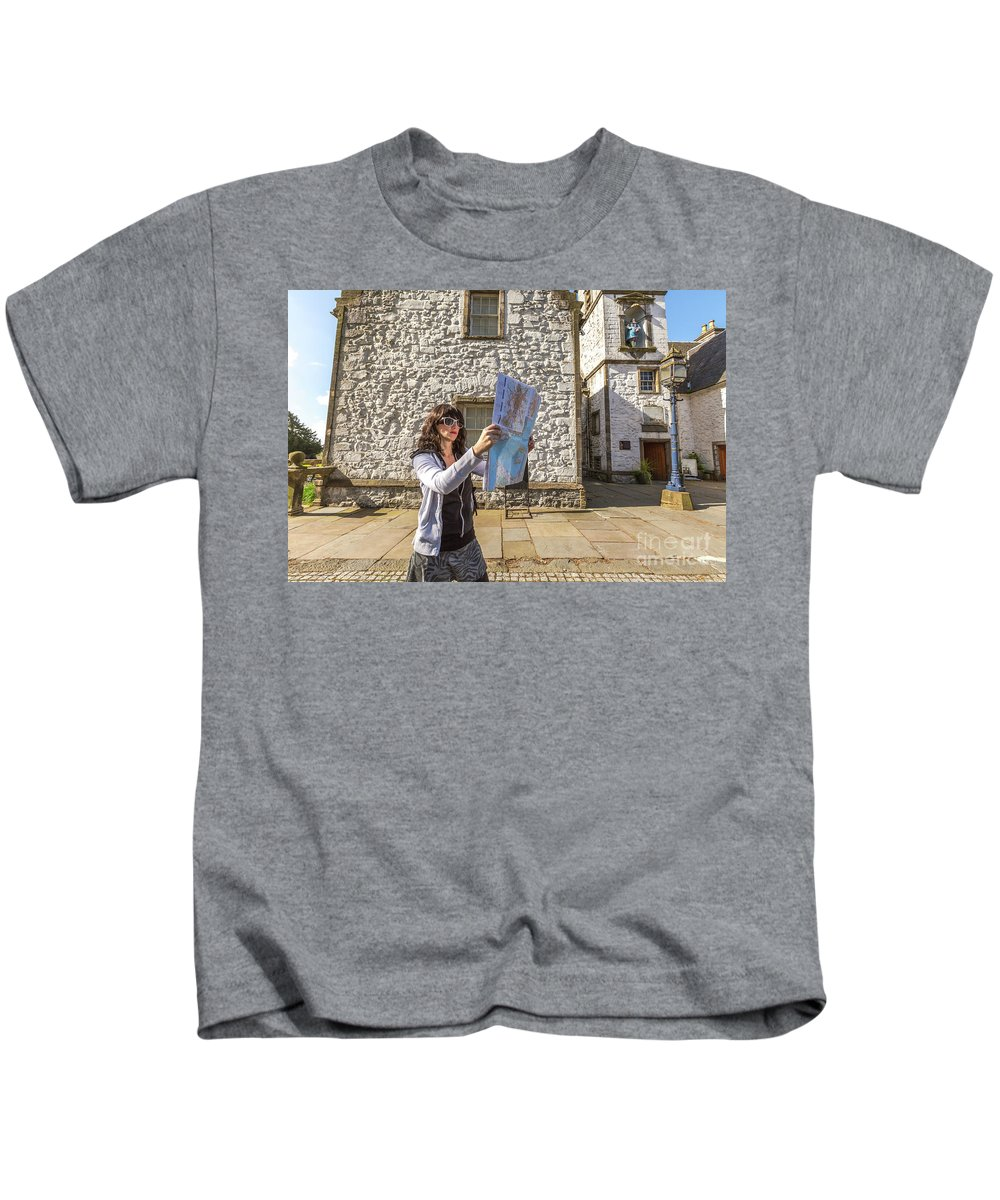 Young Woman Kids T-Shirt featuring the photograph Young Tourist In Scotland by Benny Marty