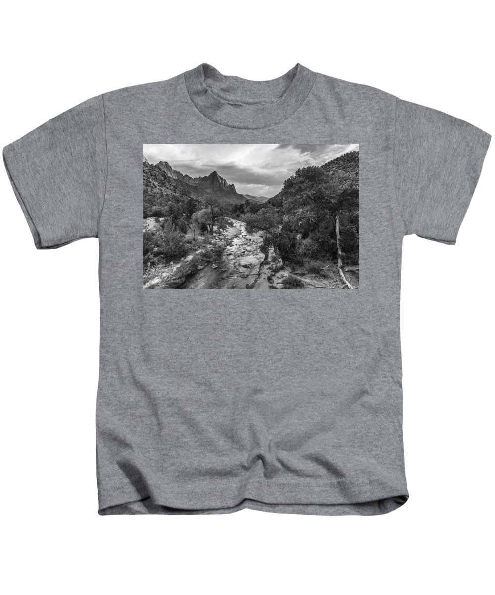 Zion Kids T-Shirt featuring the photograph Zion National Park In Black And White by John McGraw