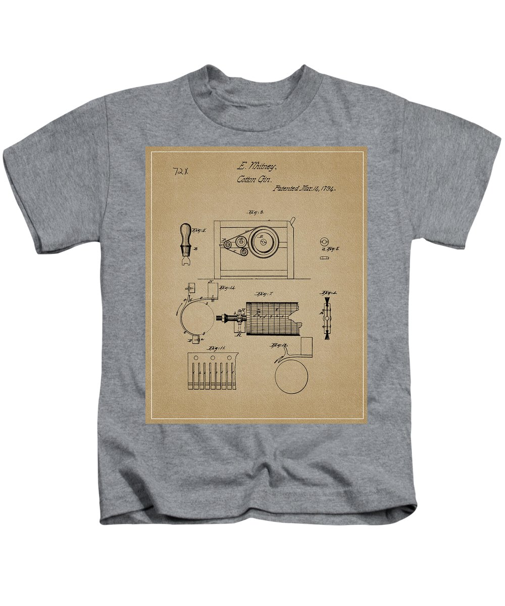Eli Whitney Cotton Gin Patent Drawing Kids T-Shirt featuring the drawing Eli Whitney Cotton Gin Design 1 by Dan Sproul