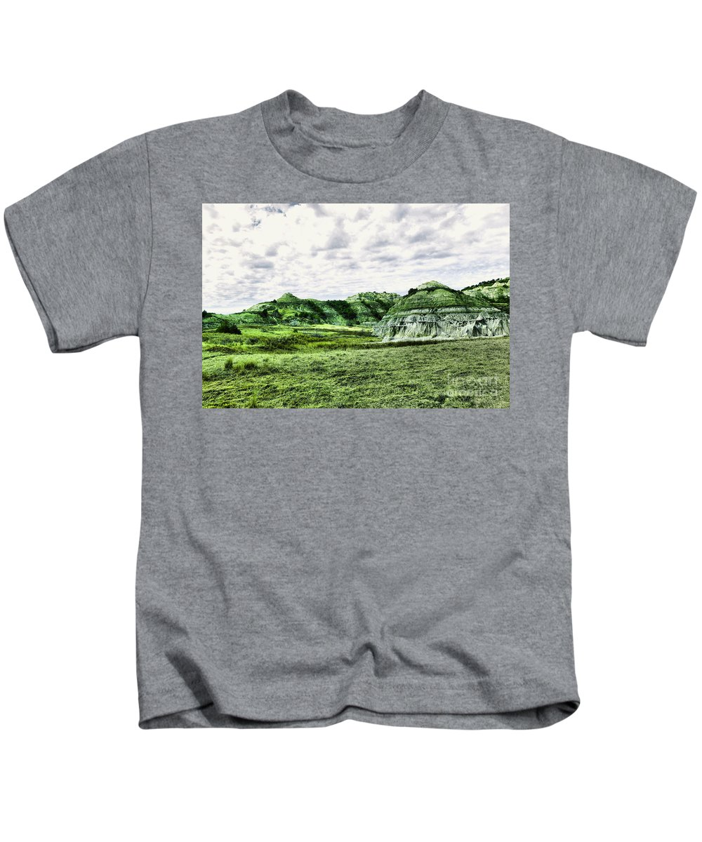 Landscape Kids T-Shirt featuring the photograph North Dakota Badlands by Jeff Swan