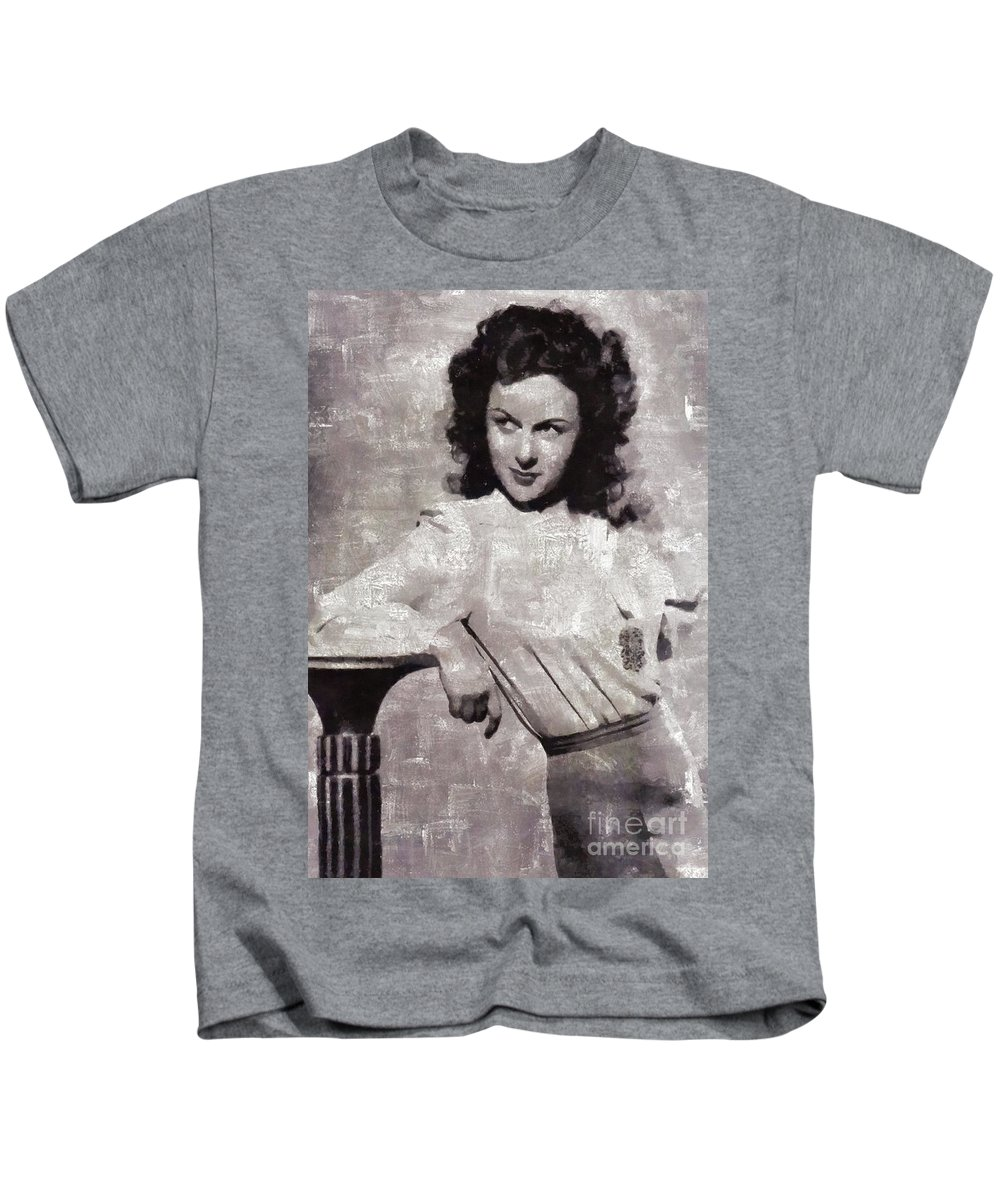 Susan Kids T-Shirt featuring the painting Susan Hayward, Vintage Actress by Mary Bassett