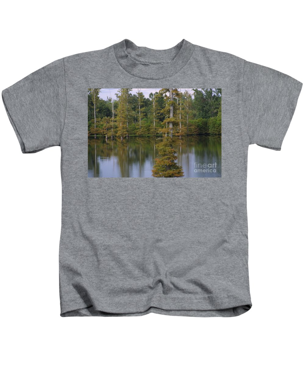Tennessee Cypress Kids T-Shirt featuring the photograph Tennesse Cypress In Wetland by Darren Dwayne Frazier