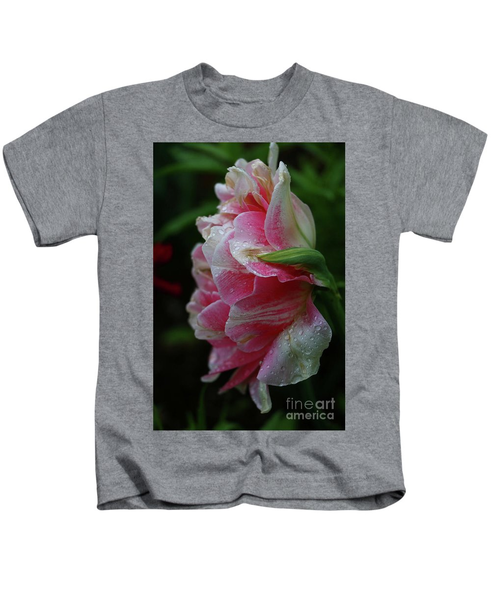 Peony Kids T-Shirt featuring the photograph Wet Beauty by Christiane Schulze Art And Photography
