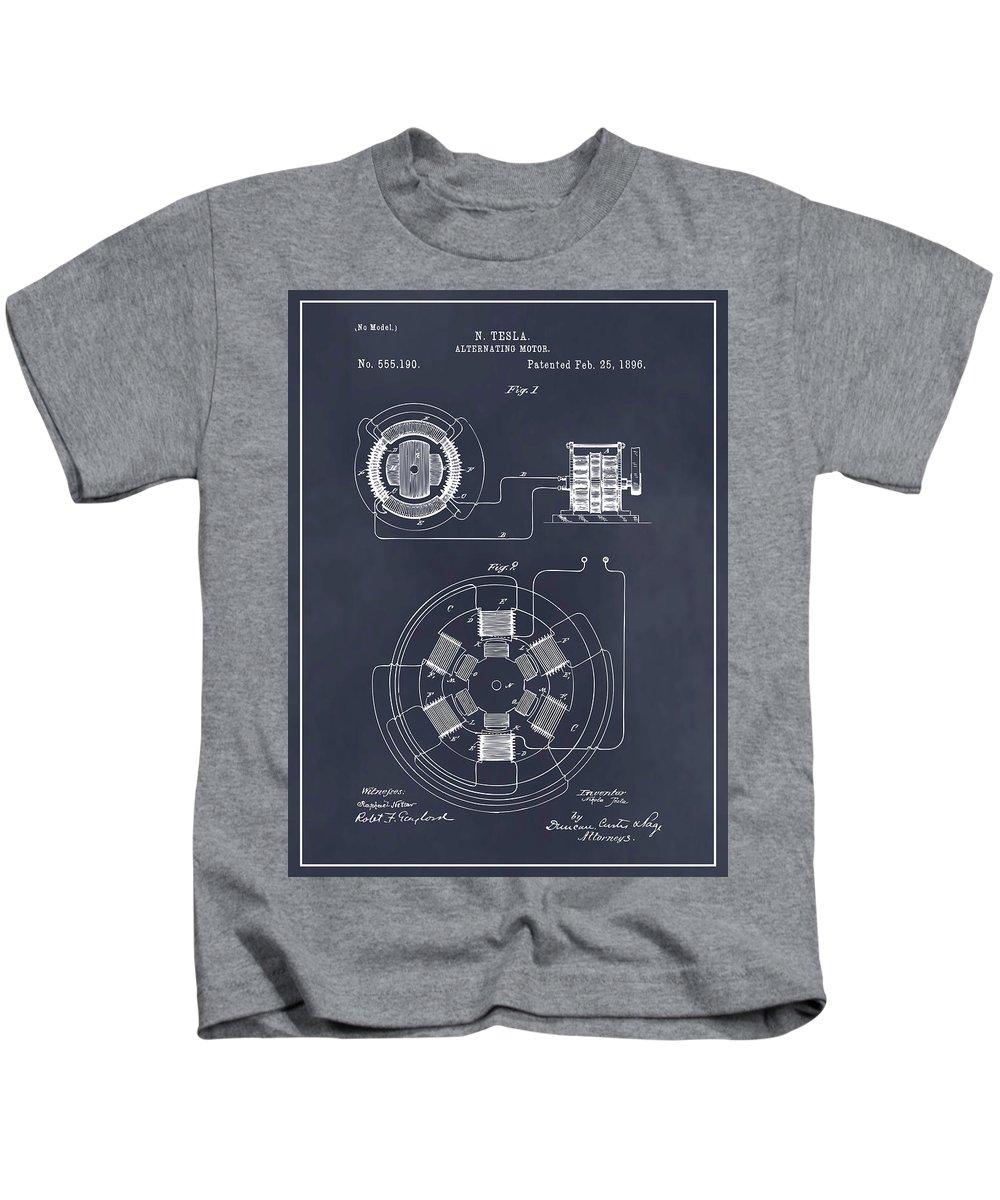 1896 Tesla Alternating Motor Kids T-Shirt featuring the drawing 1896 Tesla Alternating Motor Blackboard Patent Print by Greg Edwards