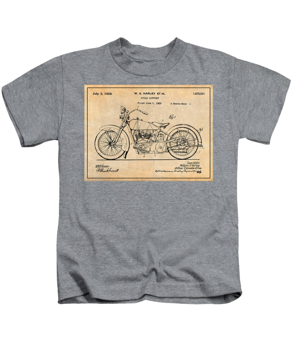 1928 Harley Davidson Motorcycle Patent Print Kids T-Shirt featuring the drawing 1928 Harley Davidson Motorcycle Antique Paper Patent Print by Greg Edwards