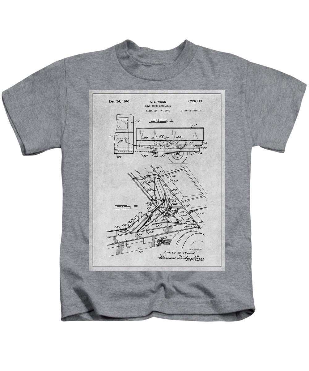 1939 Dump Truck Patent Print Kids T-Shirt featuring the drawing 1939 Dump Truck Gray Patent Print by Greg Edwards