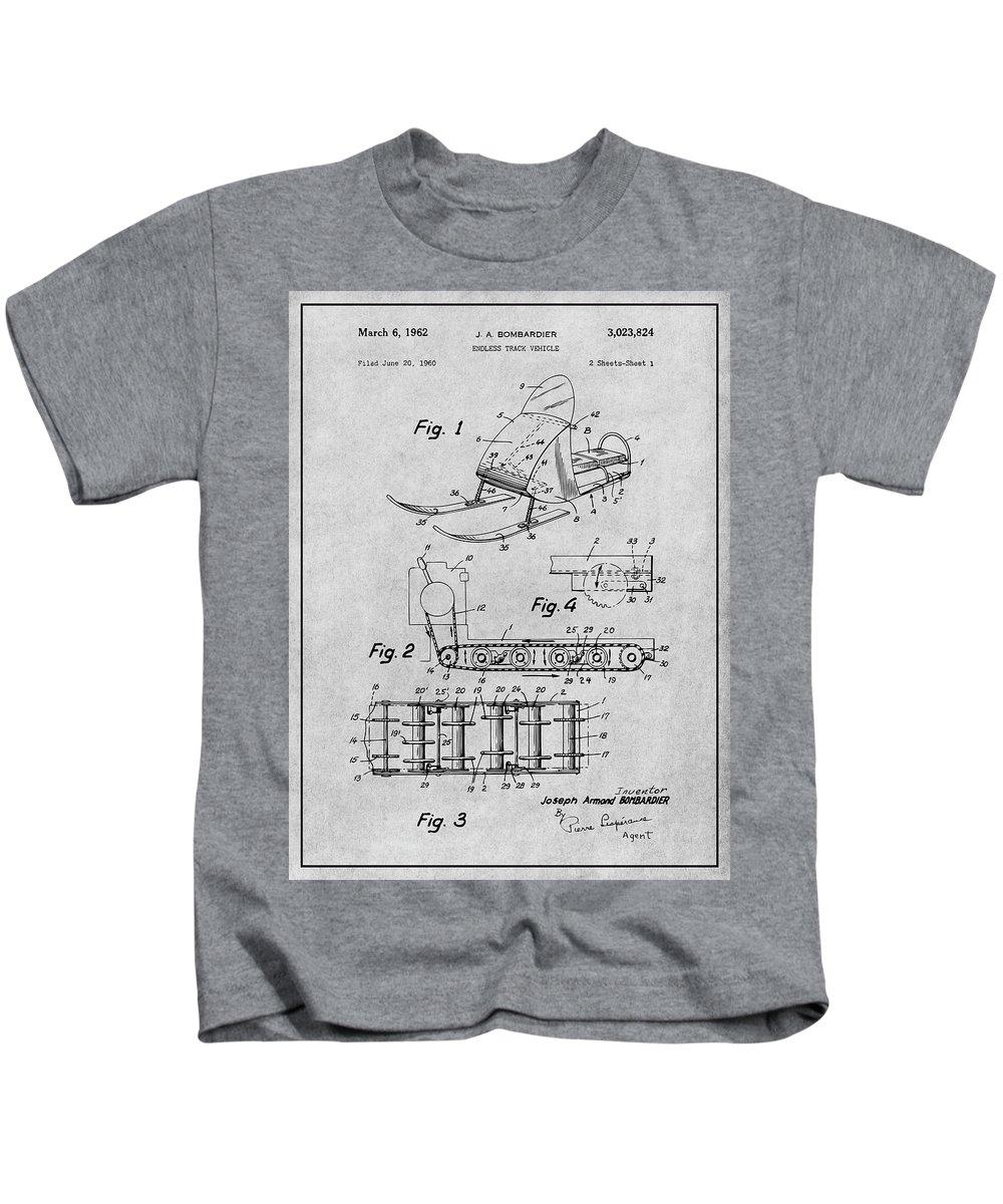 1960 Bombardier Snowmobile Patent Print Kids T-Shirt featuring the drawing 1960 Bombardier Snowmobile Gray Patent Print by Greg Edwards