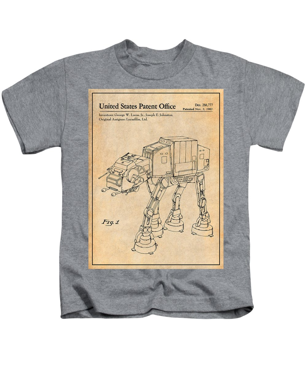1982 Star Wars At-at Imperial Walker Patent Print Kids T-Shirt featuring the drawing 1982 Star Wars At-at Imperial Walker Antique Paper Patent Print by Greg Edwards