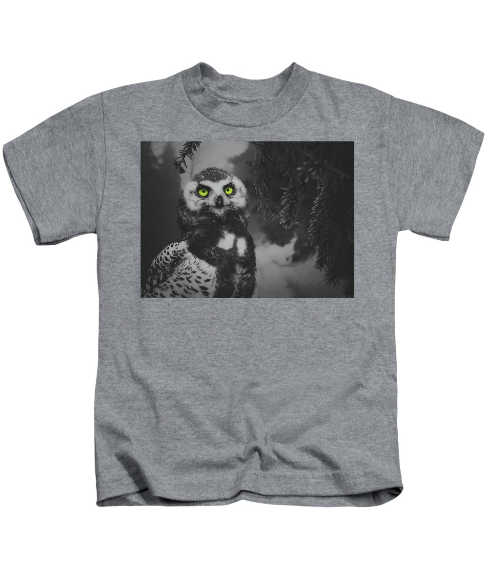 Owl Kids T-Shirt featuring the photograph Winter Owl by Pixabay