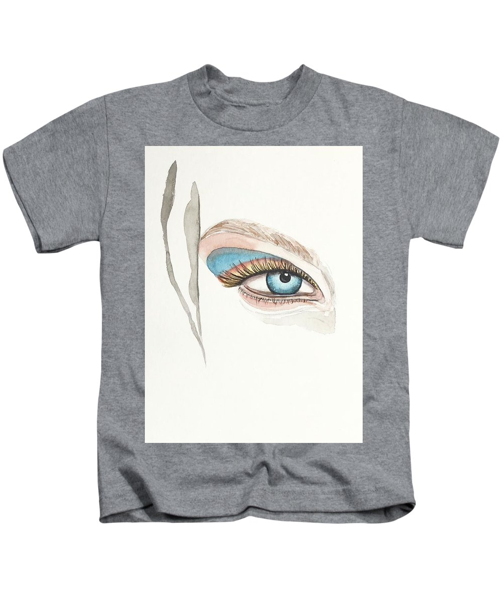 Mahsawatercolor Kids T-Shirt featuring the painting Portrait Illustration- Watercolor Painting by Mahsa Watercolor Artist