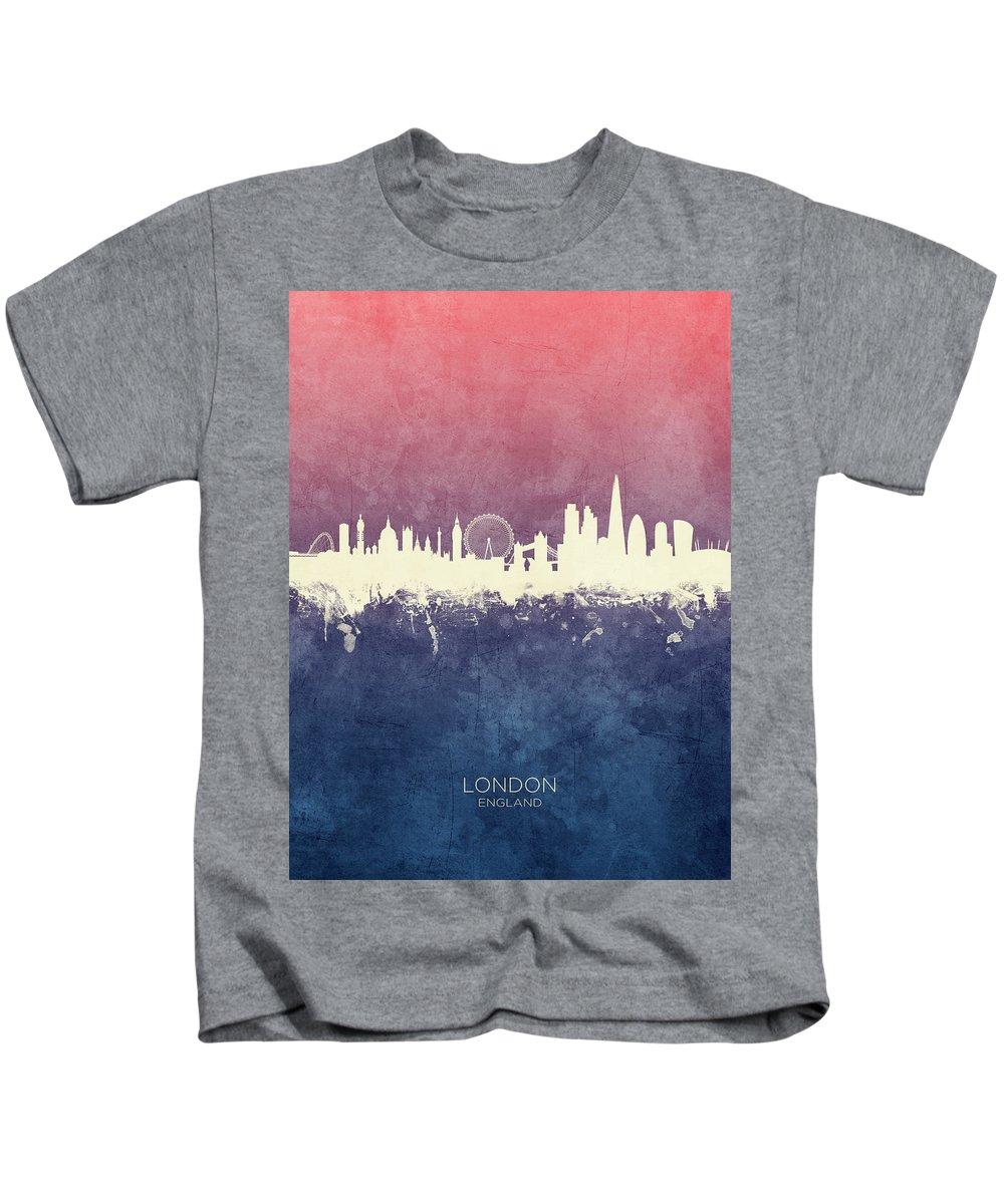 London Kids T-Shirt featuring the digital art London England Skyline by Michael Tompsett