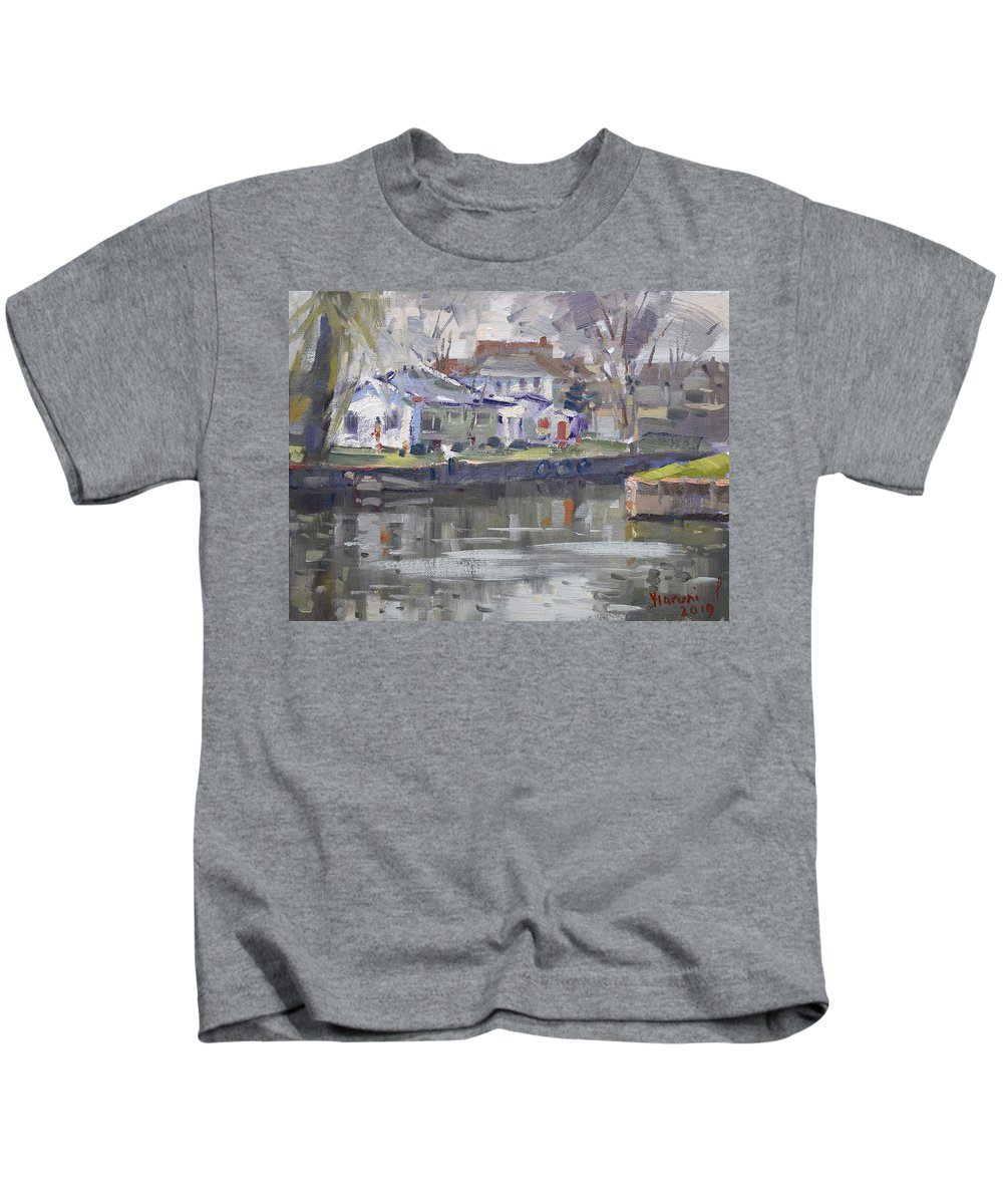 Afternoon Kids T-Shirt featuring the painting Afternoon At La Salle Park by Ylli Haruni