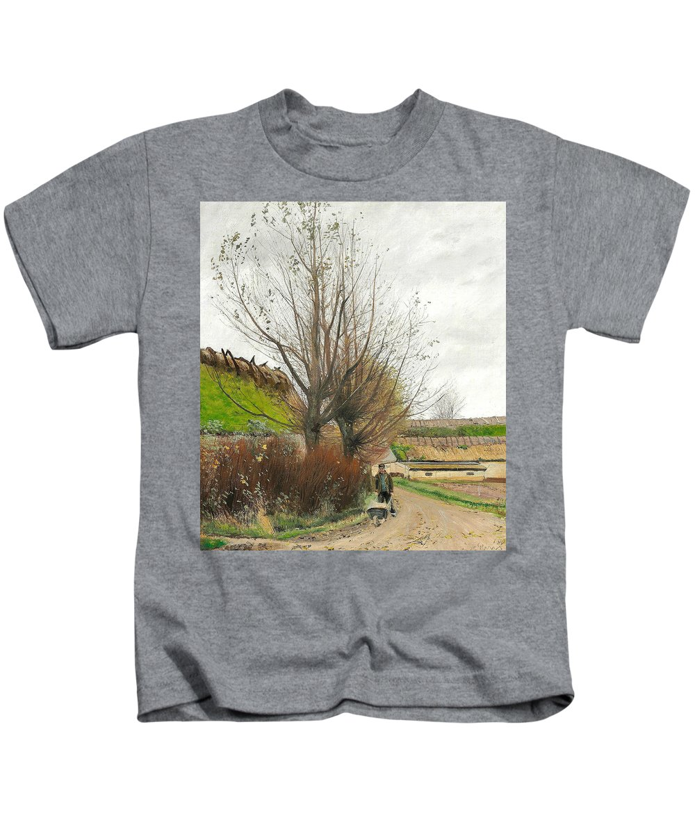 19th Century Art Kids T-Shirt featuring the painting Autumn Weather. A Man With A Wheelbarrow On A Path by Laurits Andersen Ring