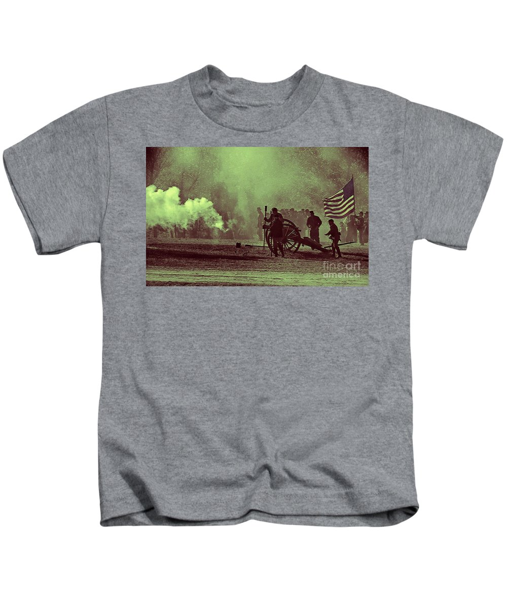 Battle Kids T-Shirt featuring the photograph Battlefield Selective Color by Charleen Treasures