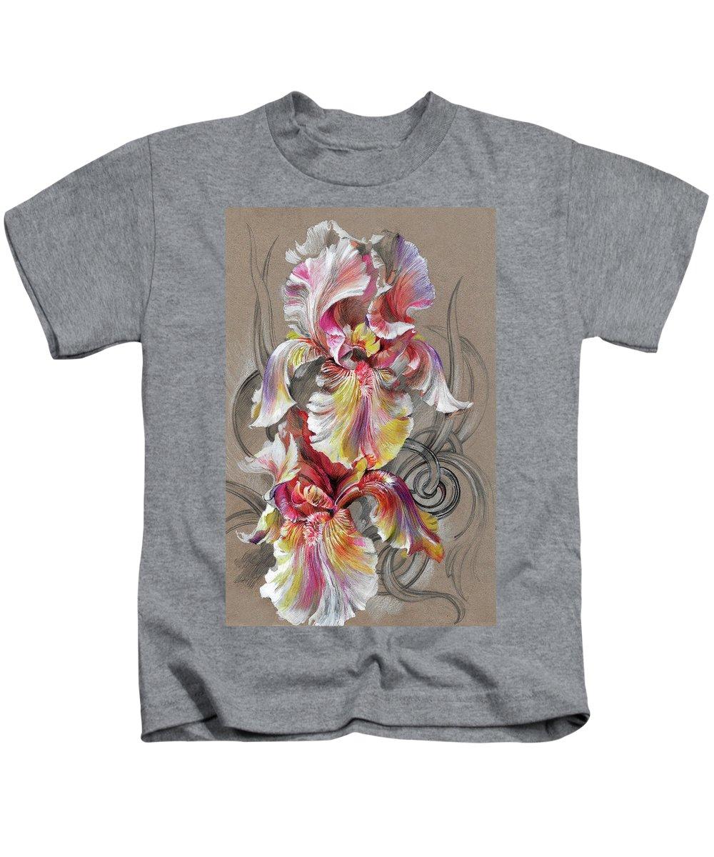 Beautiful Fantastic Realistic Flowers - Hand-made Illustration Kids T-Shirt featuring the mixed media Beautiful Fantastic Realistic Flowers by Oksana Gatalskaya