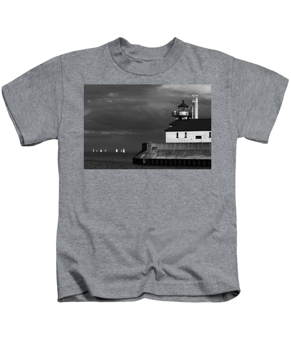 Black And White Sailboats Kids T-Shirt featuring the photograph Black And White Regatta On Lake Superior by David Lunde