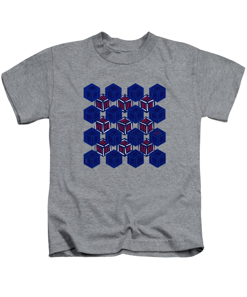 Boxed Patriot Kids T-Shirt featuring the digital art Boxed Patriot by Priscilla Wolfe