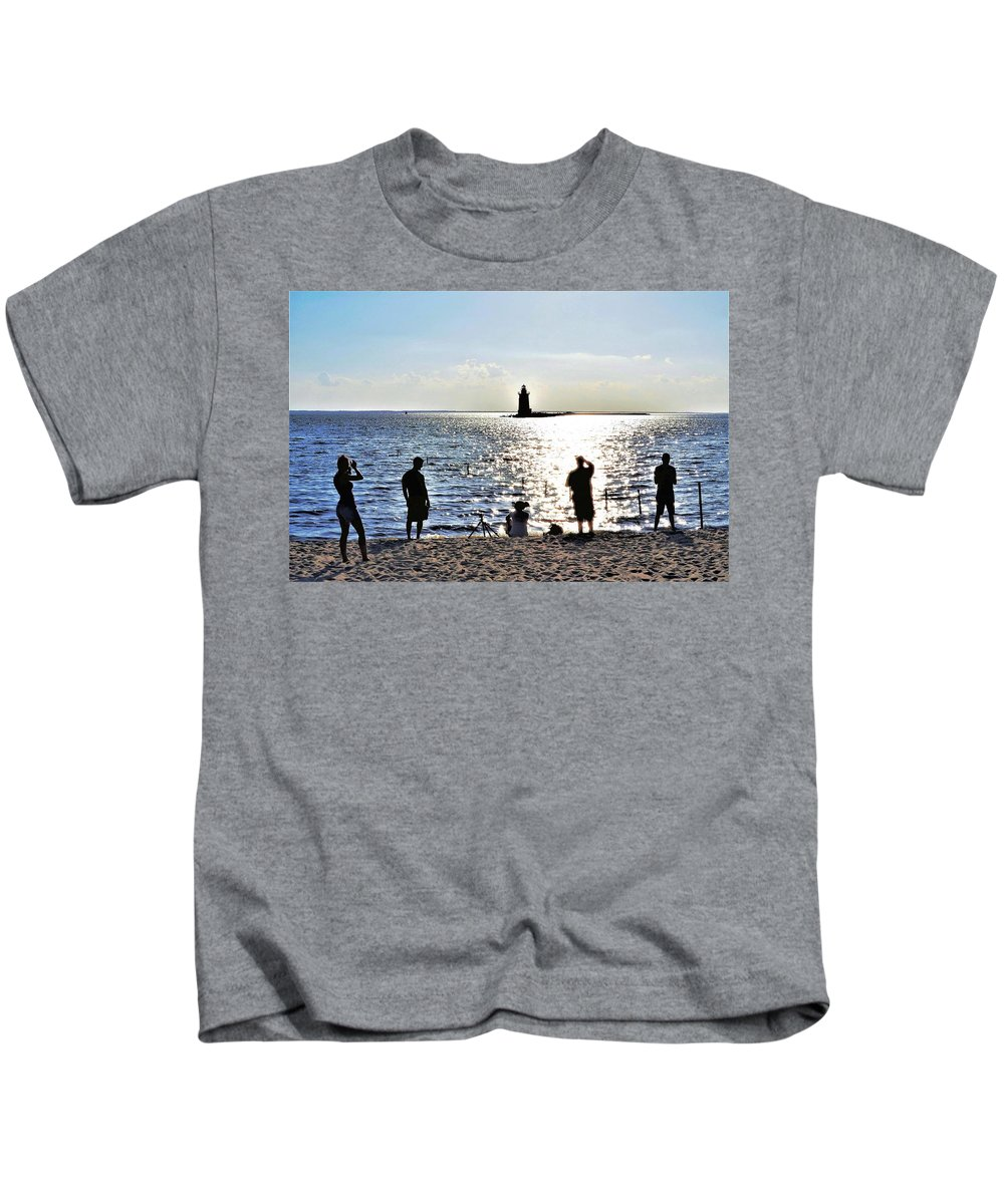 Lighthouse Kids T-Shirt featuring the photograph Breakwater East End Beach Scene by Kim Bemis