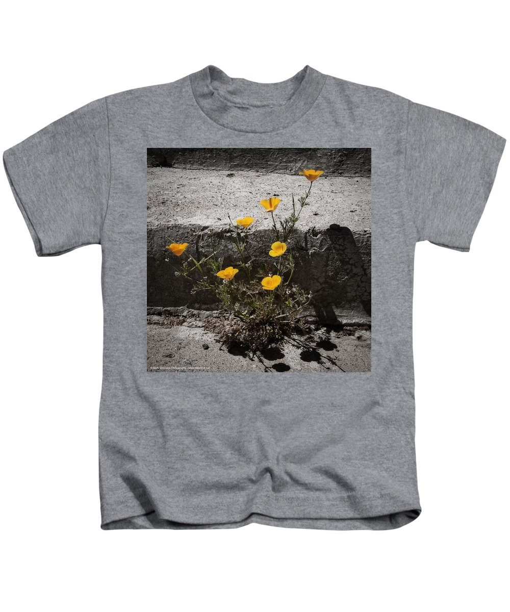 California Poppy Kids T-Shirt featuring the photograph California Poppy Trying by Mark Valentine