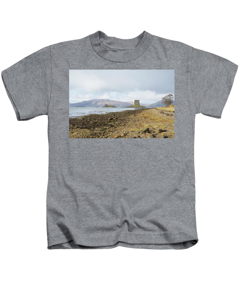 Castle Kids T-Shirt featuring the photograph castle Stalker in late autumn by Victor Lord Denovan