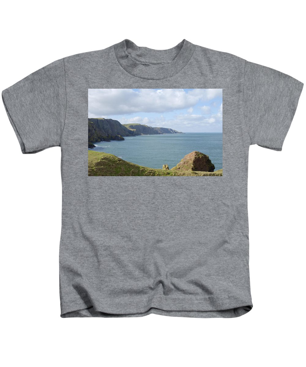 Sea Kids T-Shirt featuring the photograph cliffs and coast at St. Abbs Head, Berwickshire by Victor Lord Denovan