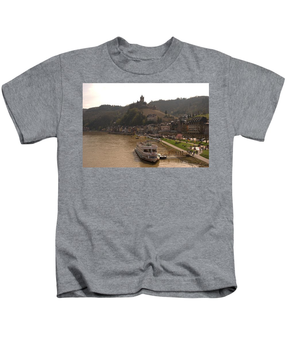 Castle Kids T-Shirt featuring the photograph Cochem Castle, Town And River Mosel In Germany by Victor Lord Denovan
