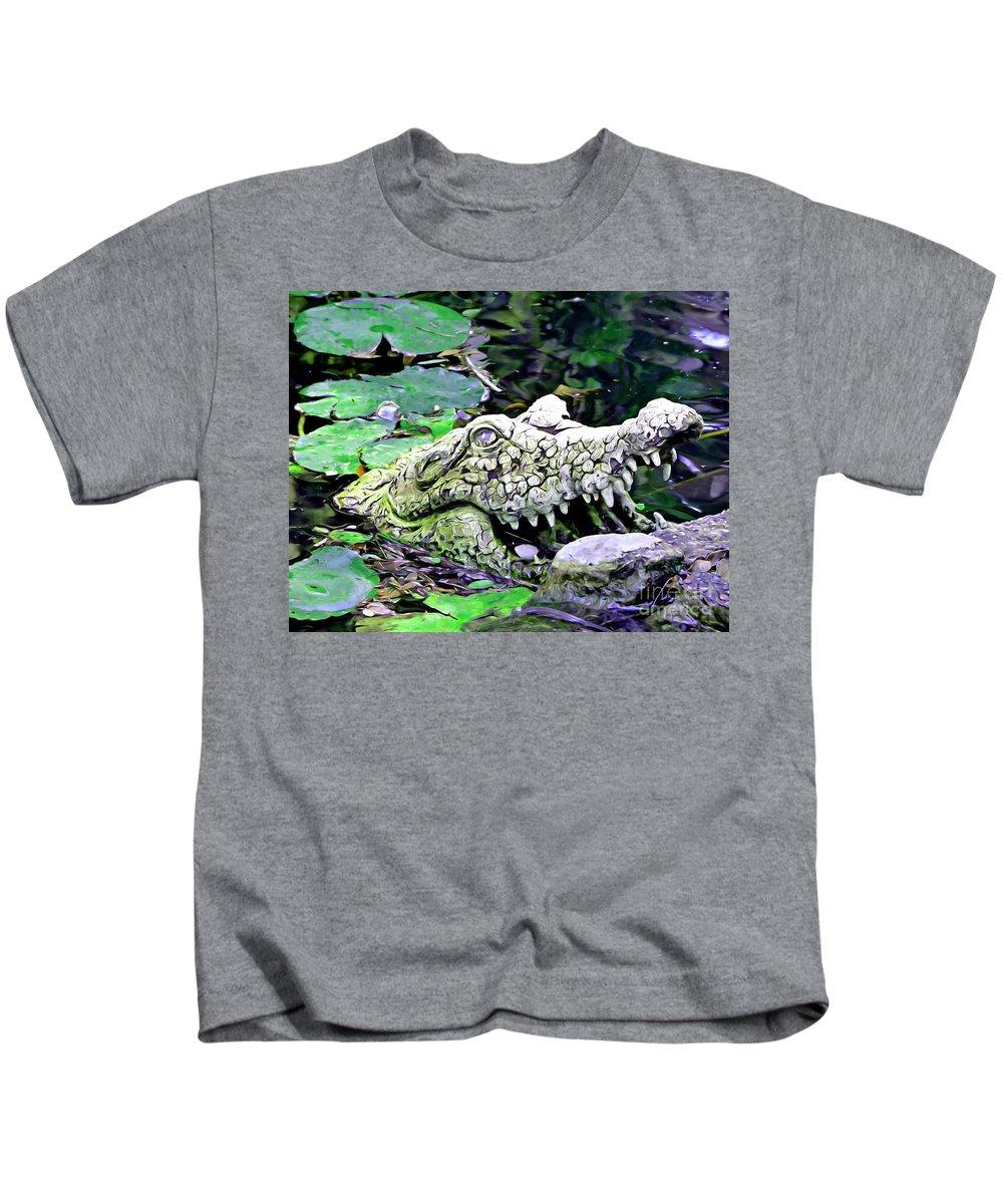Crocodile Profile Kids T-Shirt featuring the photograph Crocodile Profile. by Trudee Hunter