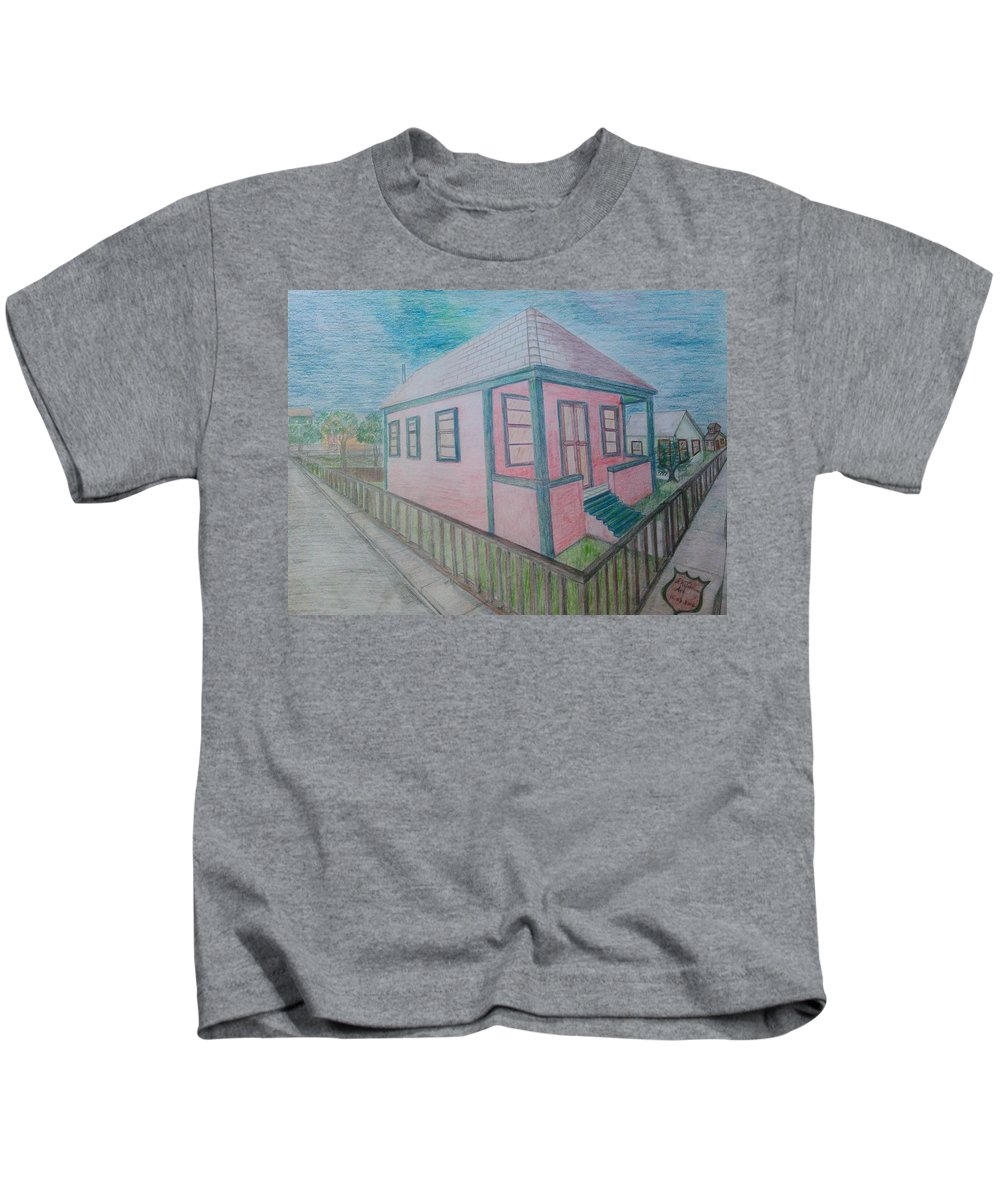 Drawing By Andrew Johnson Kids T-Shirt featuring the drawing Dream Cottage by Andrew Johnson