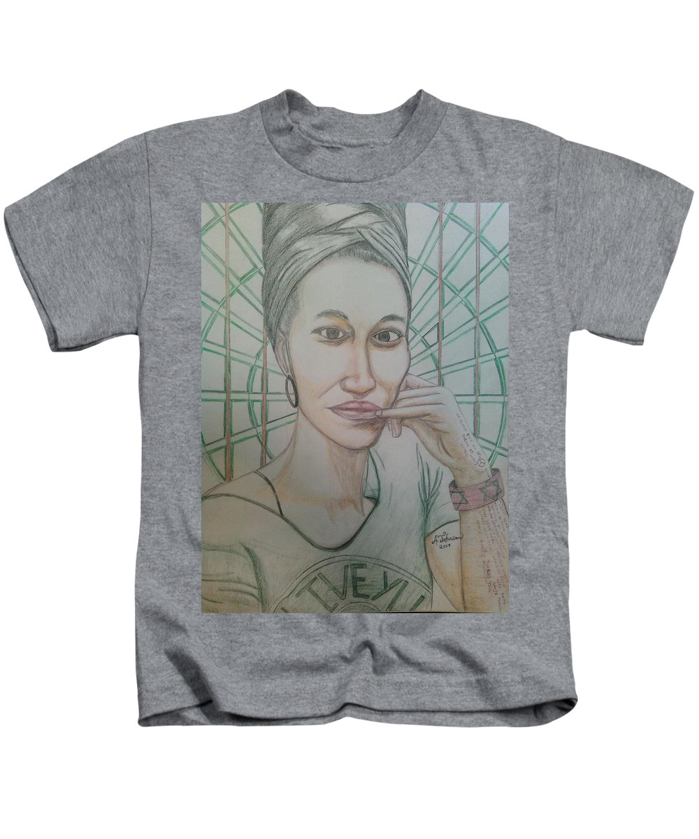 Drawing On Paper Kids T-Shirt featuring the drawing Emst by Andrew Johnson