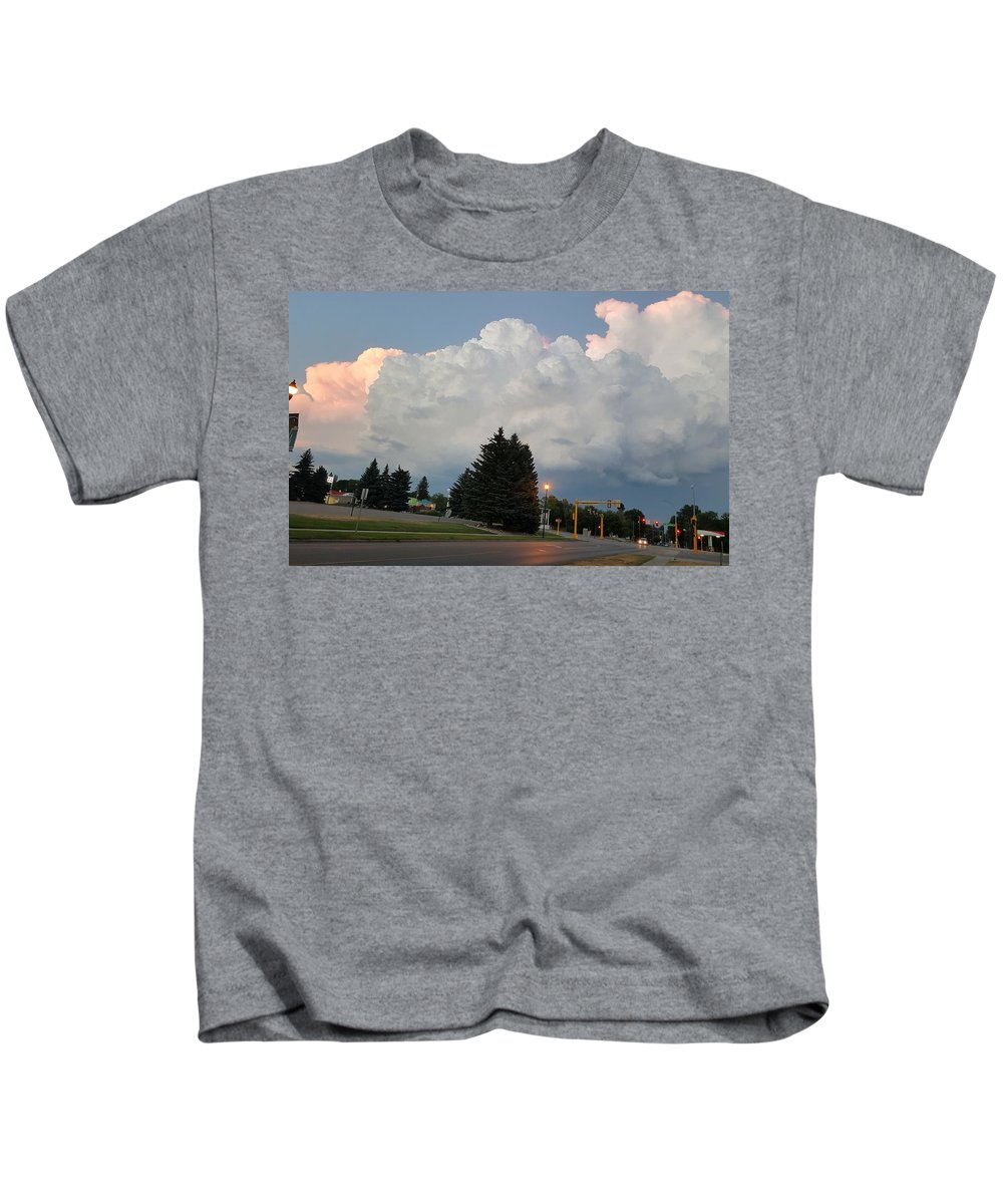 Evening Kids T-Shirt featuring the photograph Evening Lightning Storm Illuminates The Sky by Daniella Edington