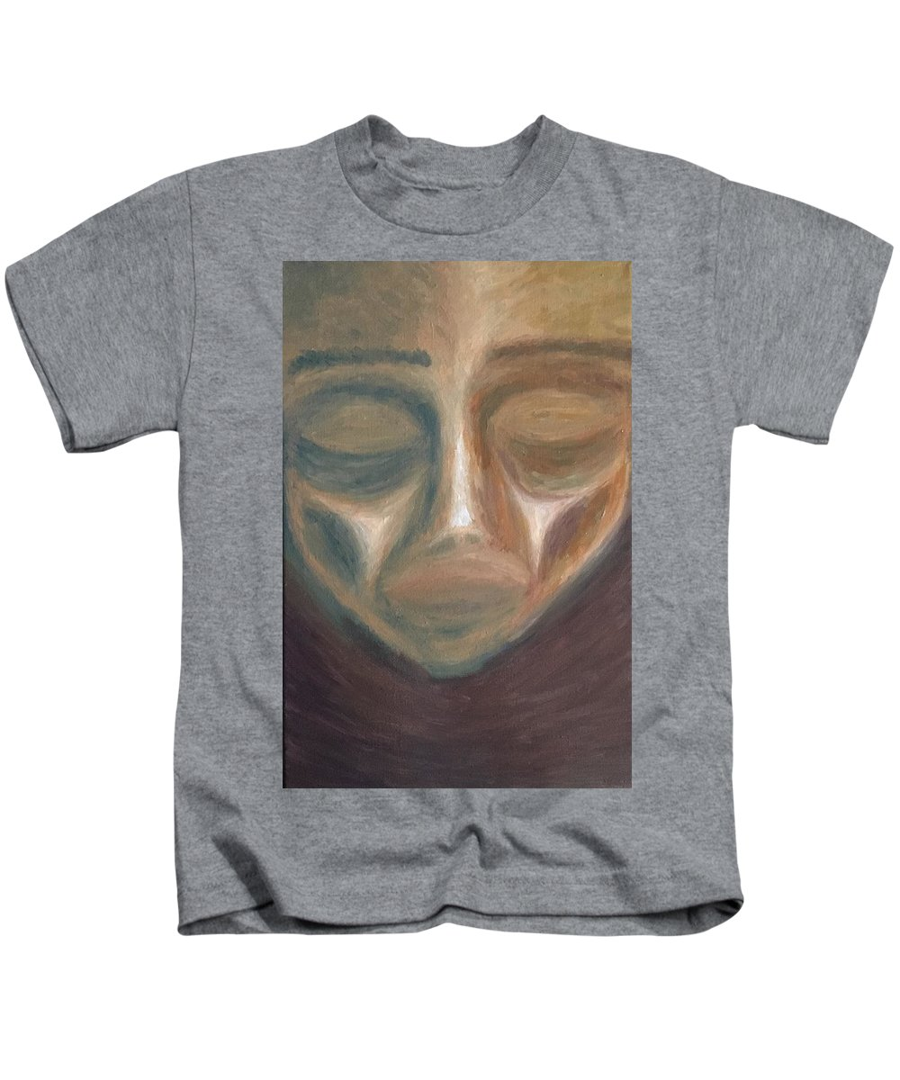 Face Kids T-Shirt featuring the painting Face by John Owen