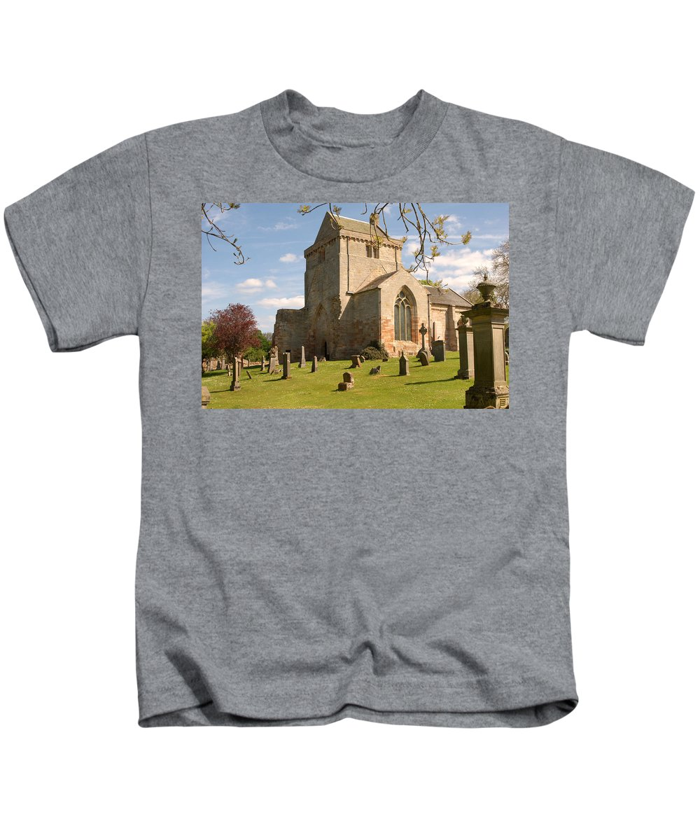 Tower Kids T-Shirt featuring the photograph historic Crichton Church and graveyard in Scotland by Victor Lord Denovan