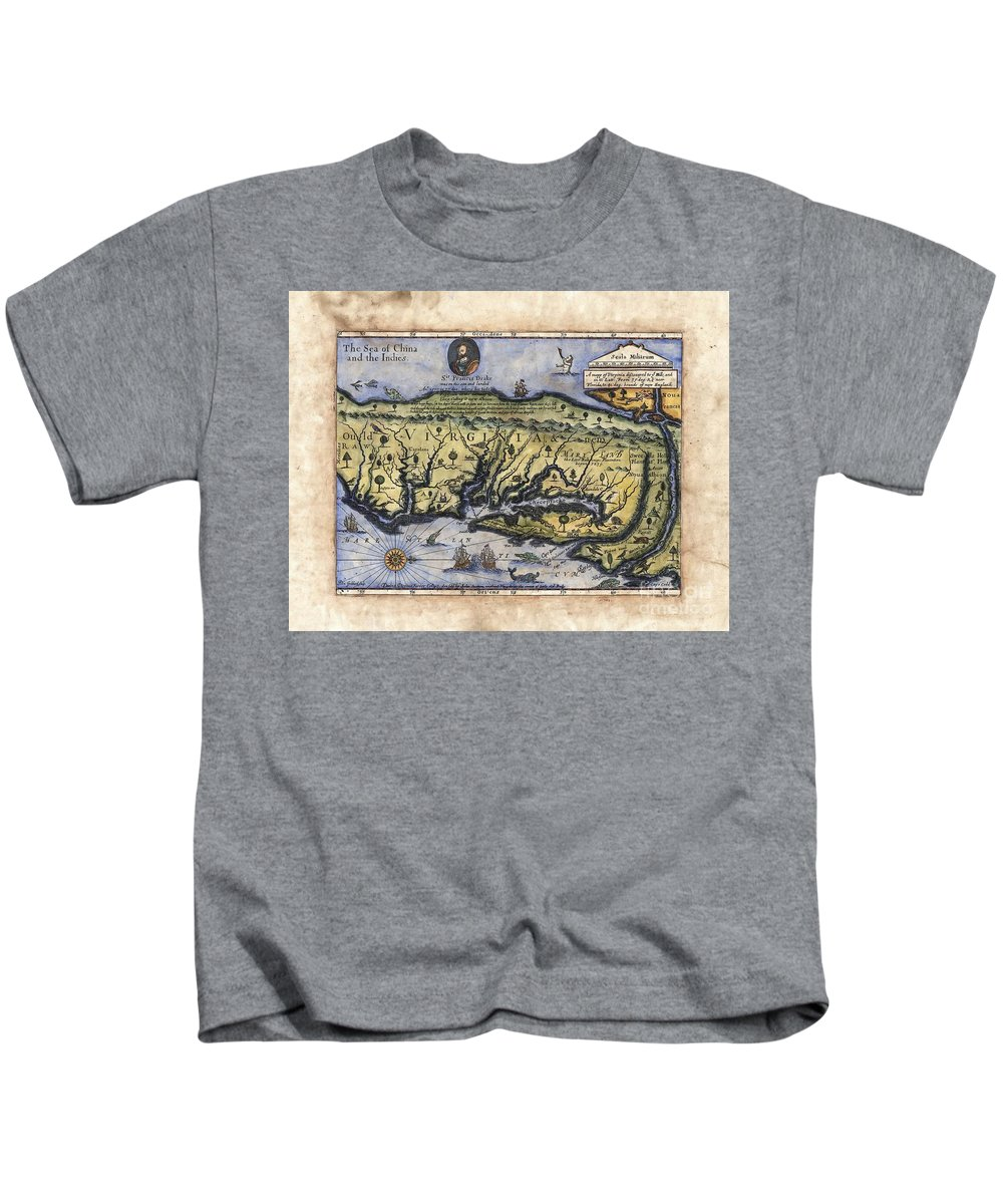 Historical Map Kids T-Shirt featuring the painting Historical Map Hand Painted Drake Virginia by Lisa Middleton