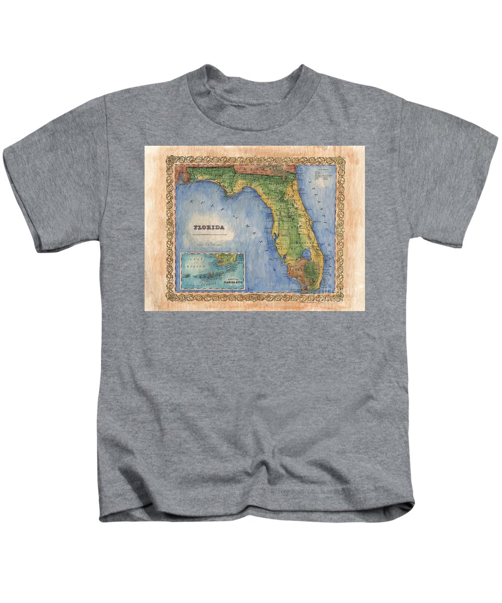 Historical Map Kids T-Shirt featuring the painting Historical Map Hand Painted Vintage Florida Colton by Lisa Middleton