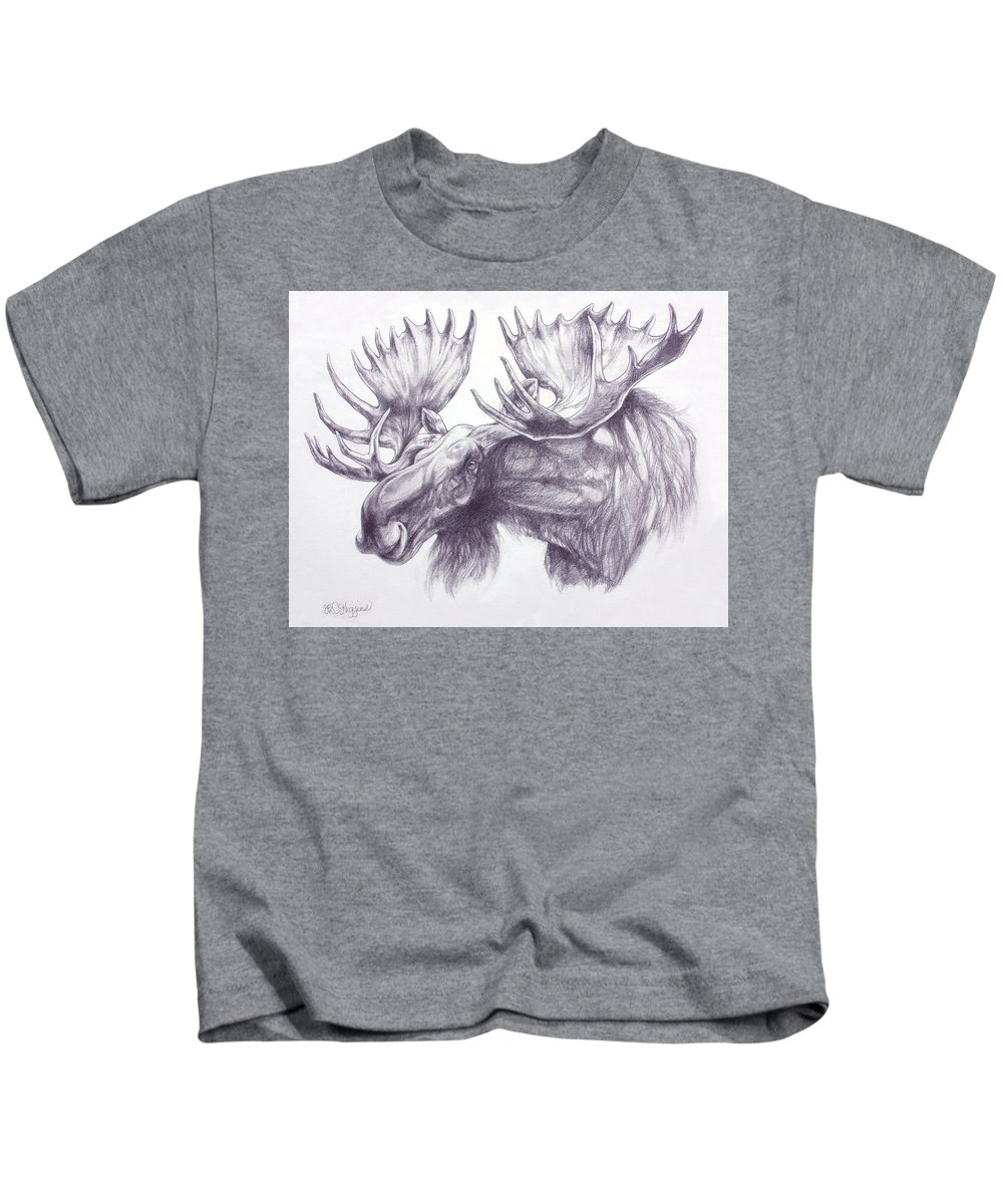 Bull Elk Drawings Kids T-Shirts