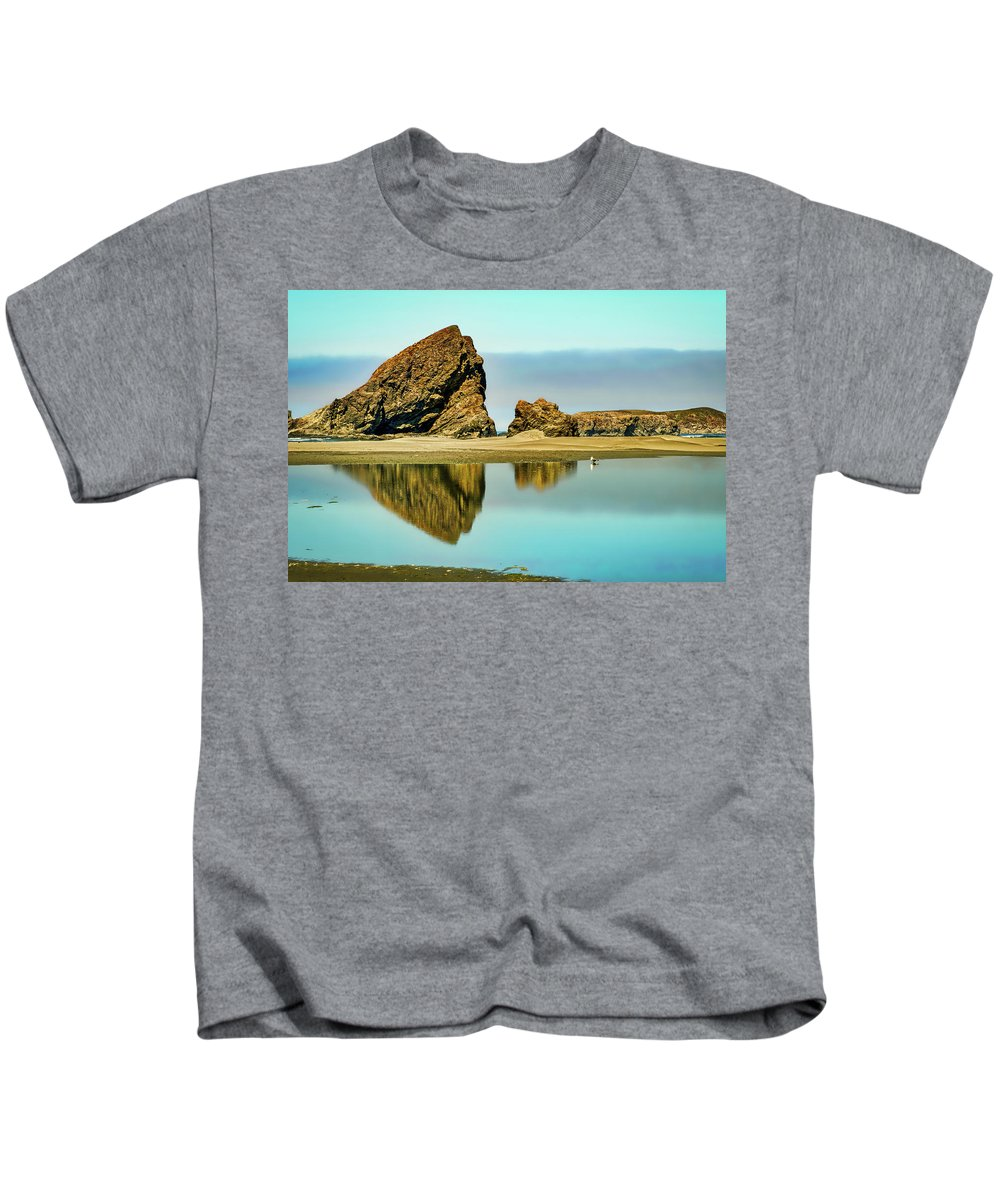 Meyers Kids T-Shirt featuring the photograph Meyers Beach Reflections - Oregon by Stuart Litoff