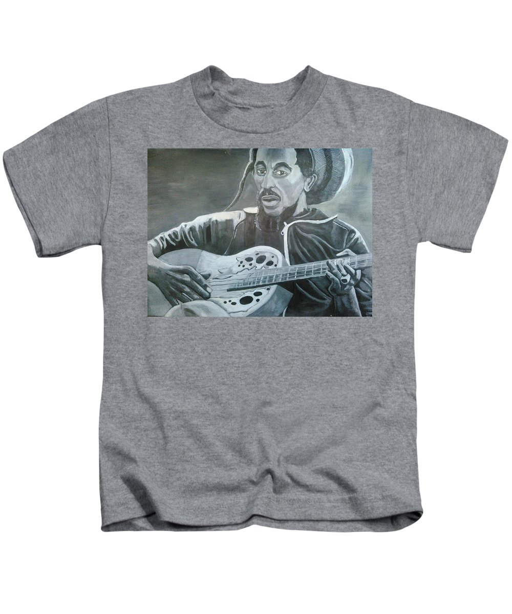 Bob Marley Painting Kids T-Shirt featuring the painting Musical Man by Andrew Johnson