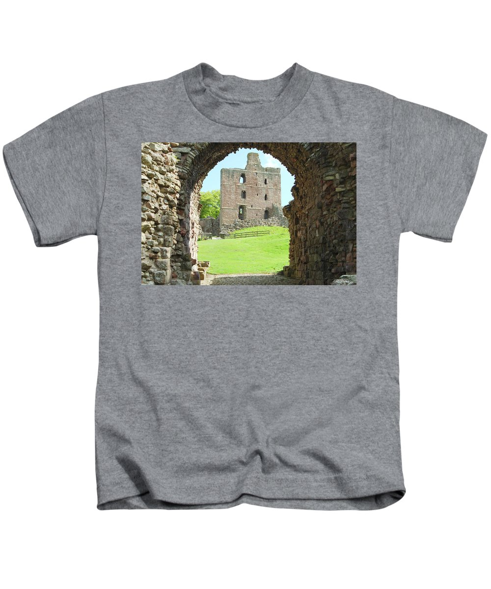 Norham Kids T-Shirt featuring the photograph Norham Castle And Tower Through The Entrance Gate by Victor Lord Denovan