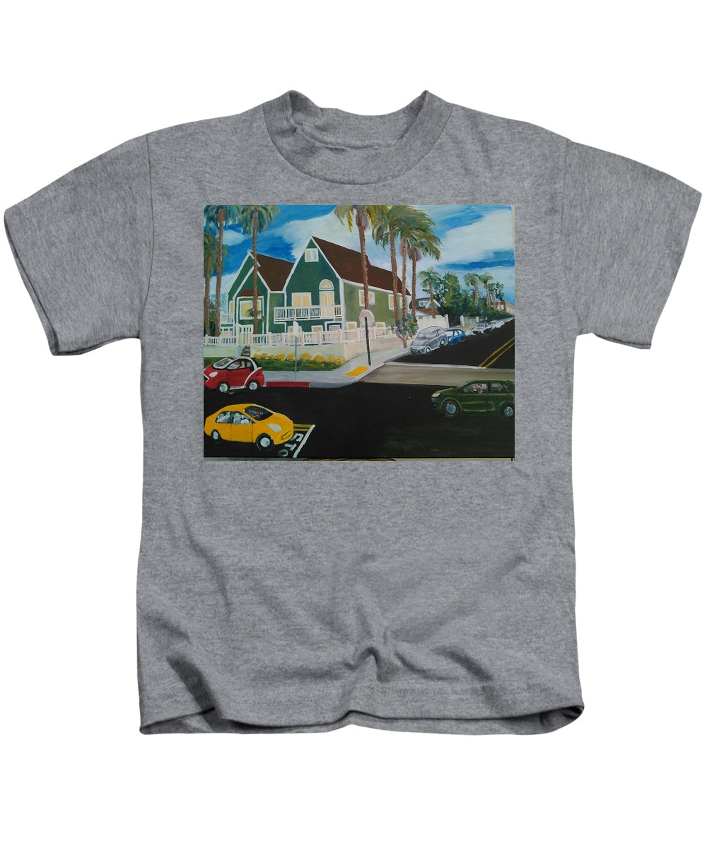 Painting Kids T-Shirt featuring the painting OB House by Andrew Johnson